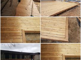 Terasų, stoginių, gipso montavimas ir sukimas