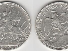 Meksika 1 pesas 1910m. Retesnis. Kaina 65 eur.