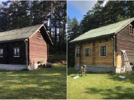 Smėliavimas, Rąstinių namų (medinių namų) valymas.