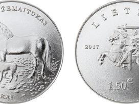 1,5 eurų monetos lietuvių skalikui ir žemaitukui