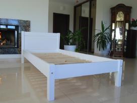 Nauja viengule medine lova balta masyvas 90 x 200