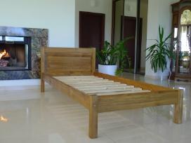 Nauja viengulė medinė lova balta masyvas 90 x 200