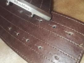 Rudas platus moteriškas odinis diržas