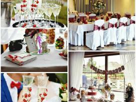 Salės,saldaus stalo, taurių dekoras,