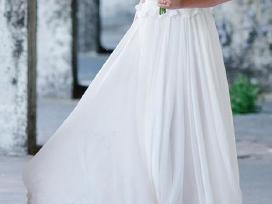 Rankų darbo nuostabi,ilga, balta vestuvinė suknelė