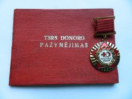 TSRS donoro pazymejimas ir zenklas ,sunkaus metalo
