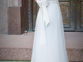 Unikali šilko rankų darbo vestuvinė suknelė