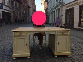 Antikvarinis dvipusis rašomasis stalas su kėde