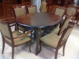 Medinis pietu stalas su 6 kedemis