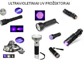 Ultravioletiniai Uv prožektoriai ir žibintuvėliai
