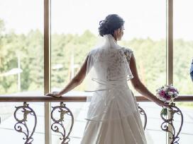 Vestuvinė Mikados šilko suknelė