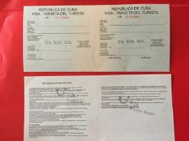 Dvi turistinės kortelės į Kubą