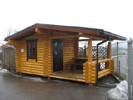 Rąstinės, medinės pavėsinės, namai, pirtys, stog