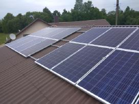 Saulės moduliai, baterijos, elektrinės.