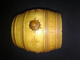 Naturalaus medžio bačkutė su gintaru papuošalams - nuotraukos Nr. 6