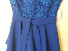 Ryškiai mėlyna pamergės suknelė