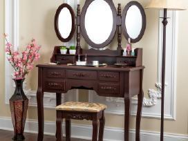 Kosmetinis staliukas su veidrodžiu ir kėdute