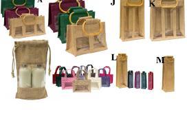 Krepšeliai, dėžutės įpakavimui, džiutas, medvilnė