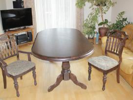 Medžio masyvo klasikinis valgomojo stalas su 8 kėd