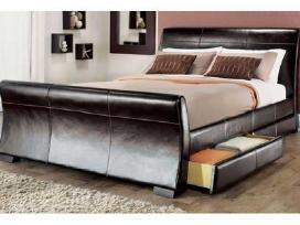 Nauja odinė lova su stalčiais ir su nauju čiužiniu