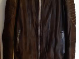 Odinė striukė ruda