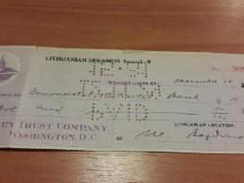 Lietuvos išeivijos bankinis čekis JAV 1929 m