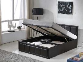 Nauja odinė lova su patalynės dėže ir čiužiniu