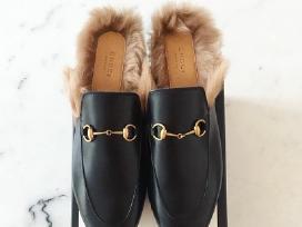 Nauji odiniai Gucci bateliai/slepetes su kailiu - nuotraukos Nr. 2
