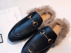 Nauji odiniai Gucci bateliai/slepetes su kailiu