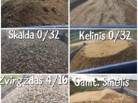 Žvyras, smėlis, skalda, atsijos.