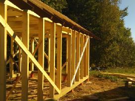 Medžio karkaso statinių statyba, stogai, brėžiniai