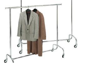 Metalinė drabužių kabykla ant ratukų