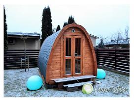Lauko pirtis sauna 4,8m ilgio - namukas su dušu,