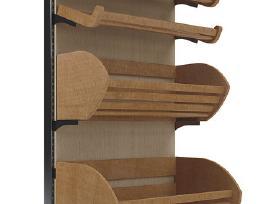 Mediniai prekybiniai baldai, stendai, stelažai