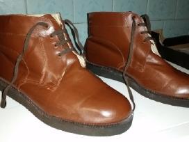 Žieminiai odiniai batai su kailiu (rudi)
