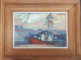 """Paveikslas V. Šatas """"Laivas Kuršių mariose"""", 1980"""
