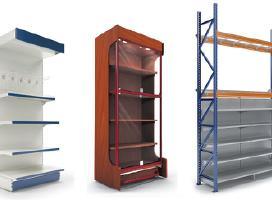 Parduotuvių stelažai ir lentynos, prekybos įranga