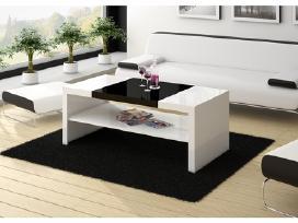 Juodas su baltu blizgus kavos staliukas