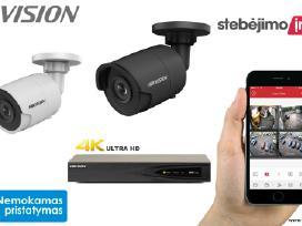 Hikvision x2 Ip lauko/vidaus kameros sistema 4mp