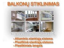 Balkonų stiklinimas aliuminio sliankiąją sistemą