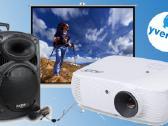 HD projektoriaus, ekrano, kolonėlės, dūmų m. nuoma