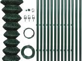 Vidaxl Žalias Tvoros Tinklas, su Stulpais 140356 - nuotraukos Nr. 2