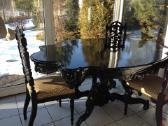Antikvarinis pietu stalas ir 4 kėdės - nuotraukos Nr. 3